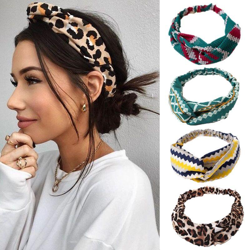 Bohemian Hair Band Floral Headband Cross Knot Turban Headwear Bandana Headwrap H