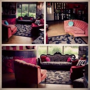 Salon Waiting Room Vintage Furniture Pink Red Black And White Stripped  Pillows