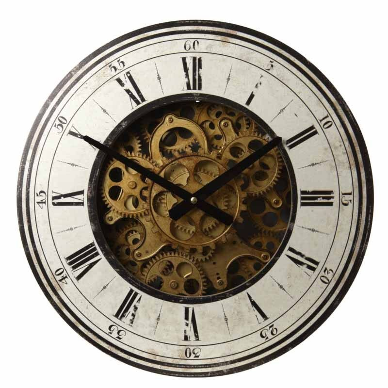 Wooden Clock With Gears I-Xii