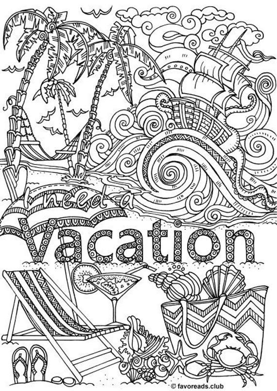 Vacation - Printable Adult Coloring Page from Favoreads ...