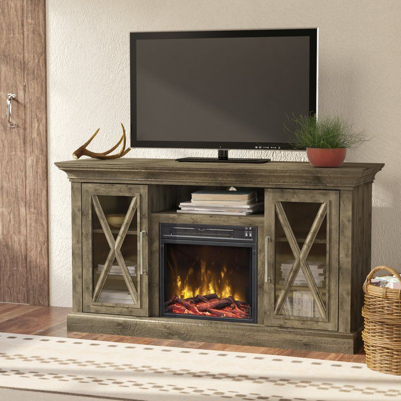 Fischer 53 80 Tv Stand With Fire Place In Spanish Gray