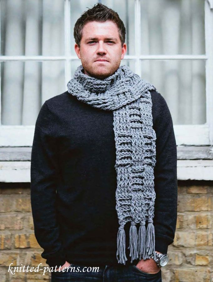 Knitting Pattern For Mens Scarf And Hat : Mens scarf free crochet pattern Free knitting patterns Pinterest F...