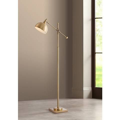 Cupola brushed brass adjustable downbridge floor lamp style cupola brushed brass adjustable downbridge floor lamp 21m42 lamps plus aloadofball Images