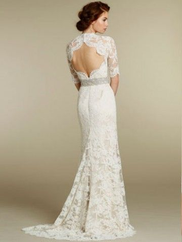 2013 New Lace Over A Line Romantic Sweetheart Wedding Dress With Three Quarter Sleeve Omg Under 400 Lace Back Wedding Dress Wedding Dresses Lace Bridal Gowns