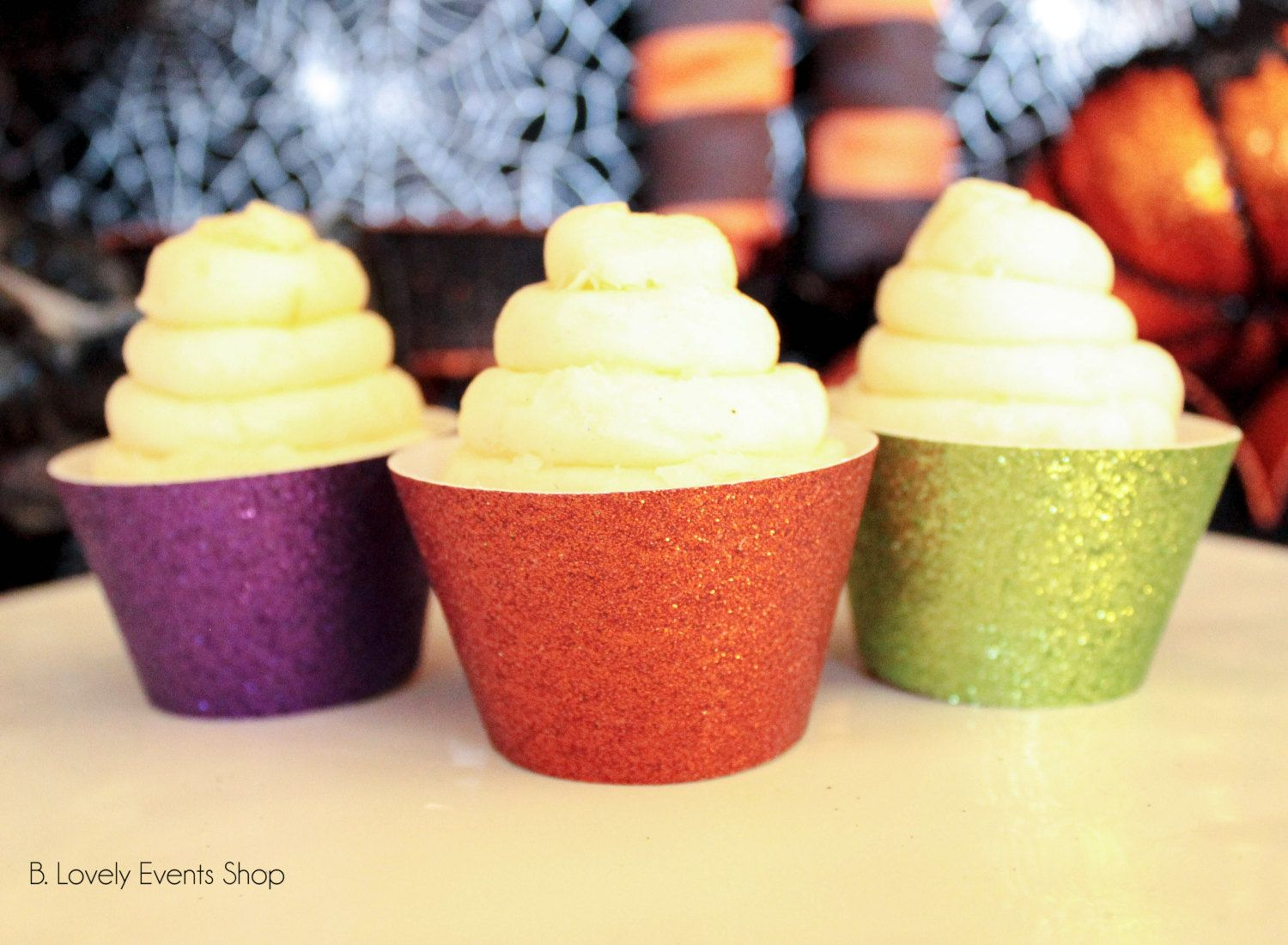 Multi-Colored Halloween Glitter Cupcake Wrappers, Halloween Party ...