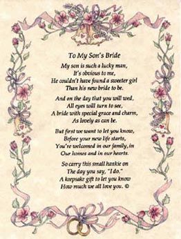 Mother To Son Wedding Day Poems My S Bride Is Such