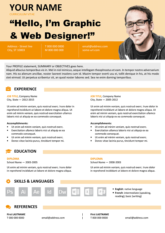 Astoria Free Resume Template Microsoft Word  Orange Layout