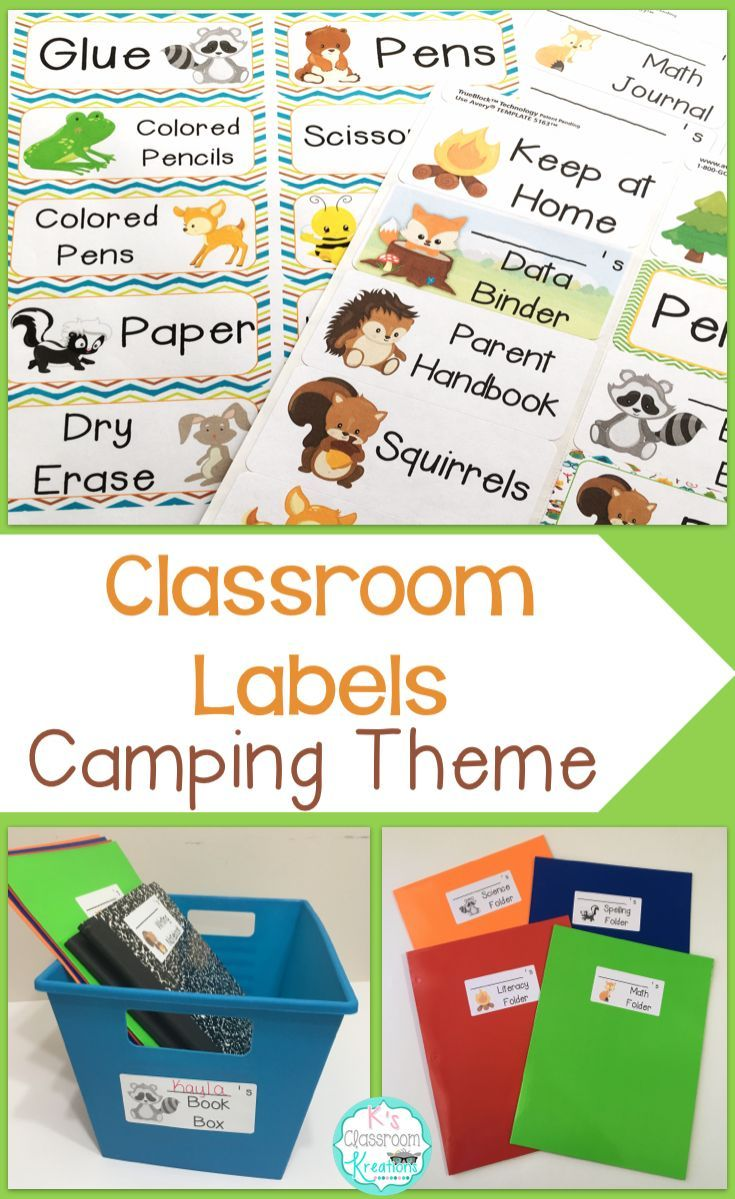 Decorate And Organize Your Camping Forest Themed Classroom With These Print Stick Labels