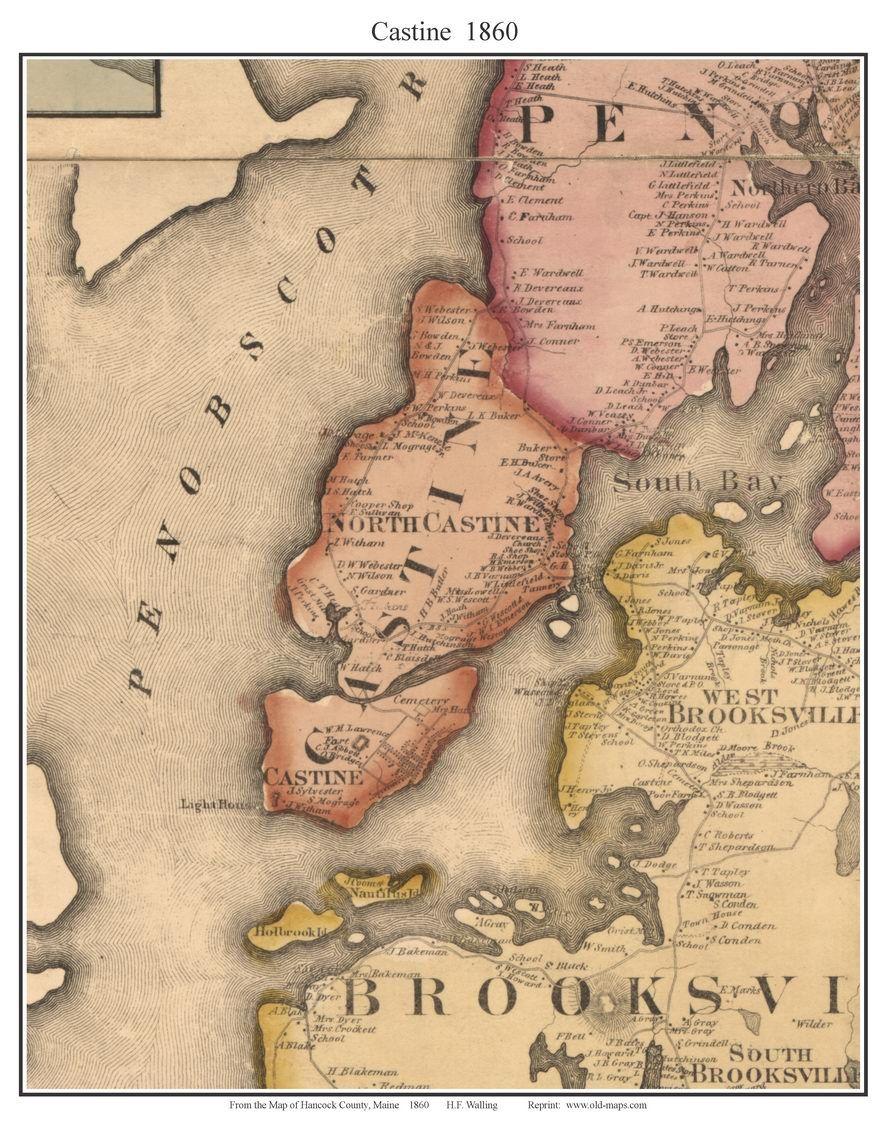Castine Maine 1860 Castine Maine Map Places