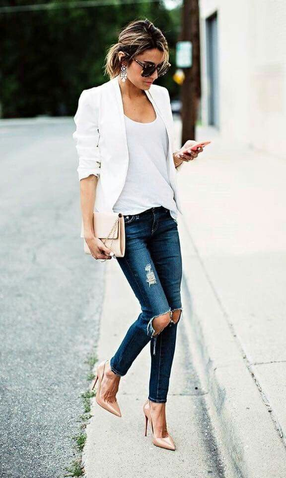Christine Andrew + ripped denim jeans + white cami + blazer + smart/casual  street style + perfect for spring + nude stilettos.