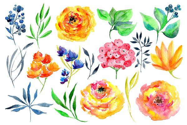 Watercolor flowers clipart by watercolors on creativemarket free border also pin kim shults creative market items pinterest rh