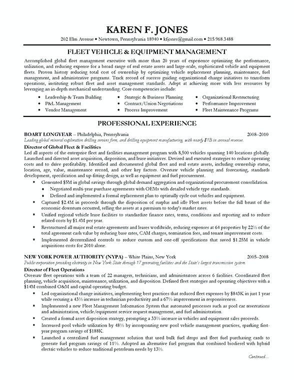 Fleet Vehicle Resume , Fleet Manager Resume , Becoming a manager is