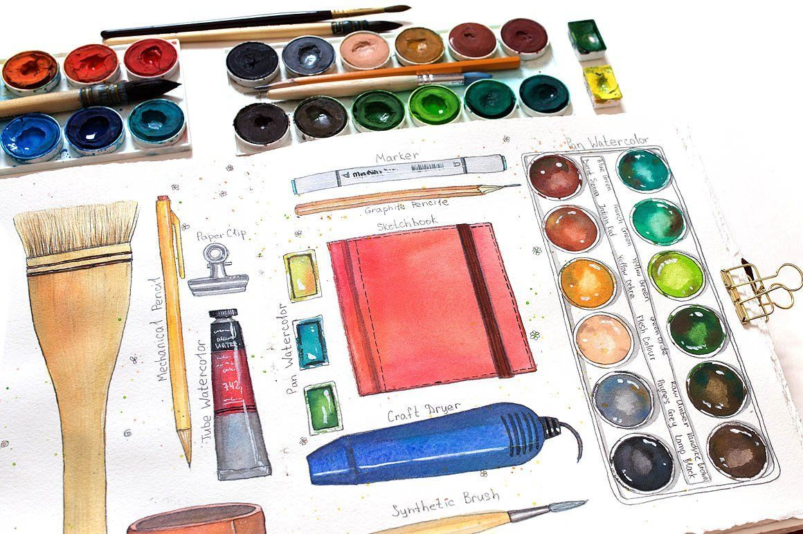 Art Supplies Watercolor Elements Spons Backgrounds Bright