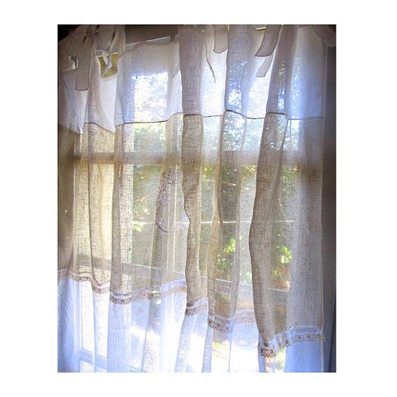 Paris Decor, Monogram Curtain, Sheer Linen Curtain, French Style ...
