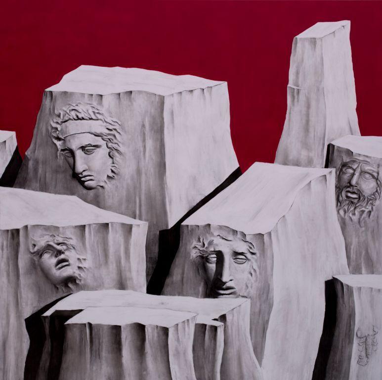 """""""The Empty Kingdom"""" - 200 x 200 - acrilico e carboncino su tela - 2017. Alessandro Calizza"""