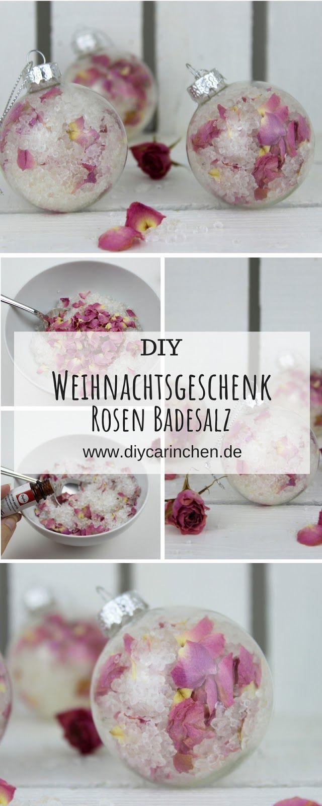DIY Badesalz mit Rosenblütenblättern selbermachen in Christbaumkugeln #hobbys