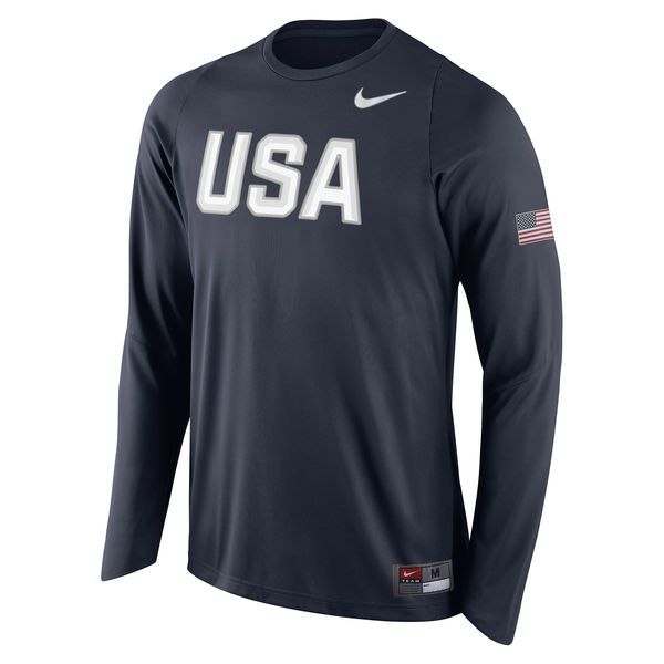 Authentic Men's Nike Navy USA Basketball Shooter Long Sleeve T-Shirt from  the only Official store of USA Basketball. Support USA Basketball in Rio  2016 and ...