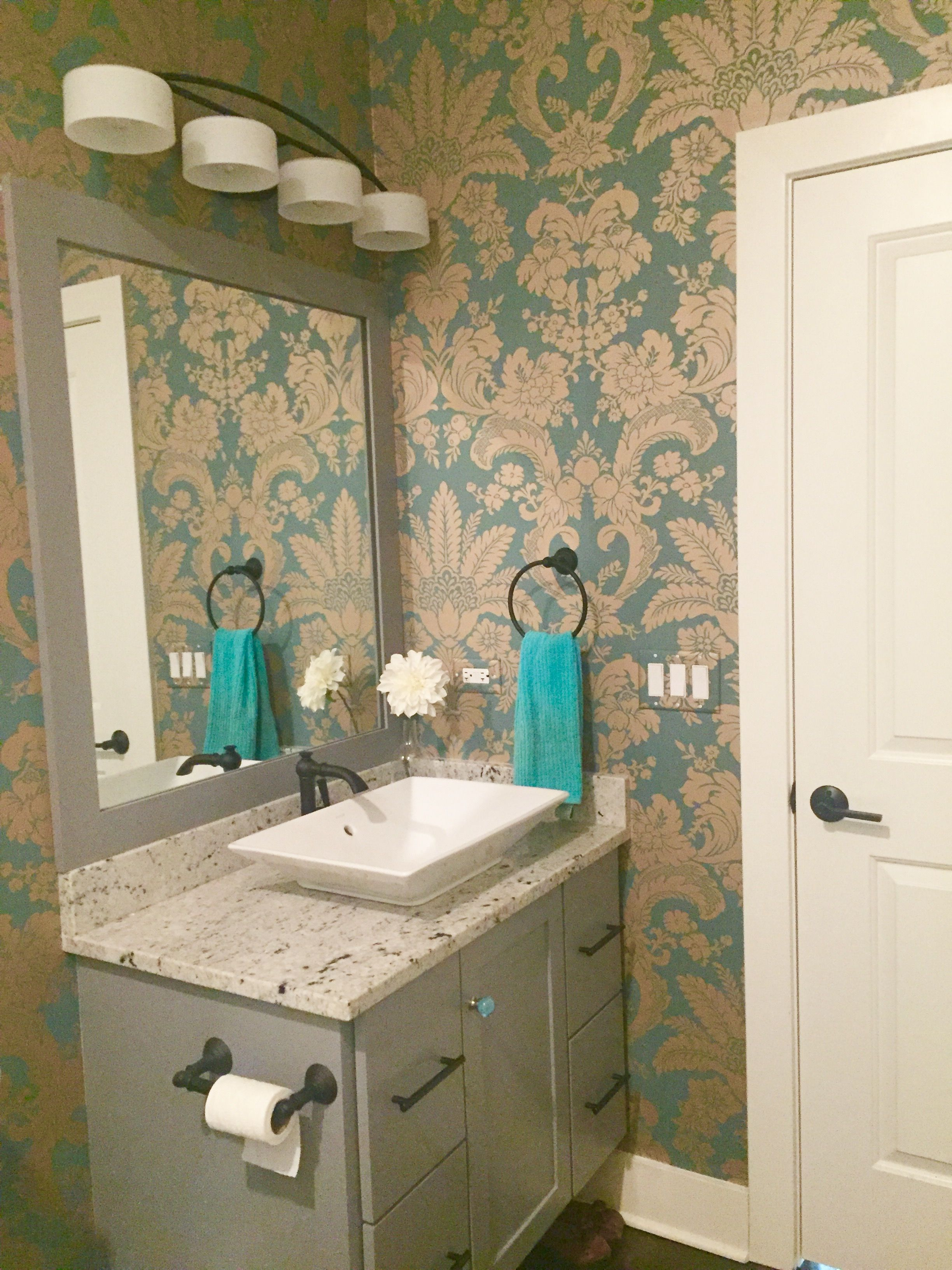 Teal/turquoise damask wallpaper with gold foil Damask
