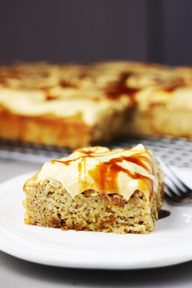 Banana cake with caramel cream cheese frosting recipe