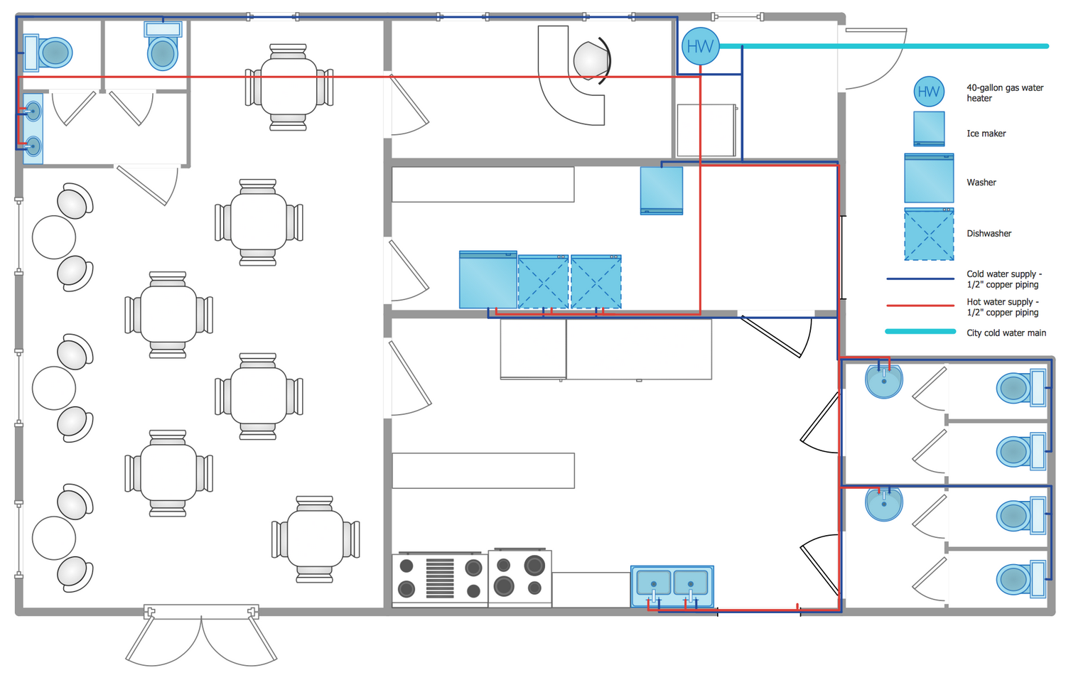hight resolution of plumbing and piping plans