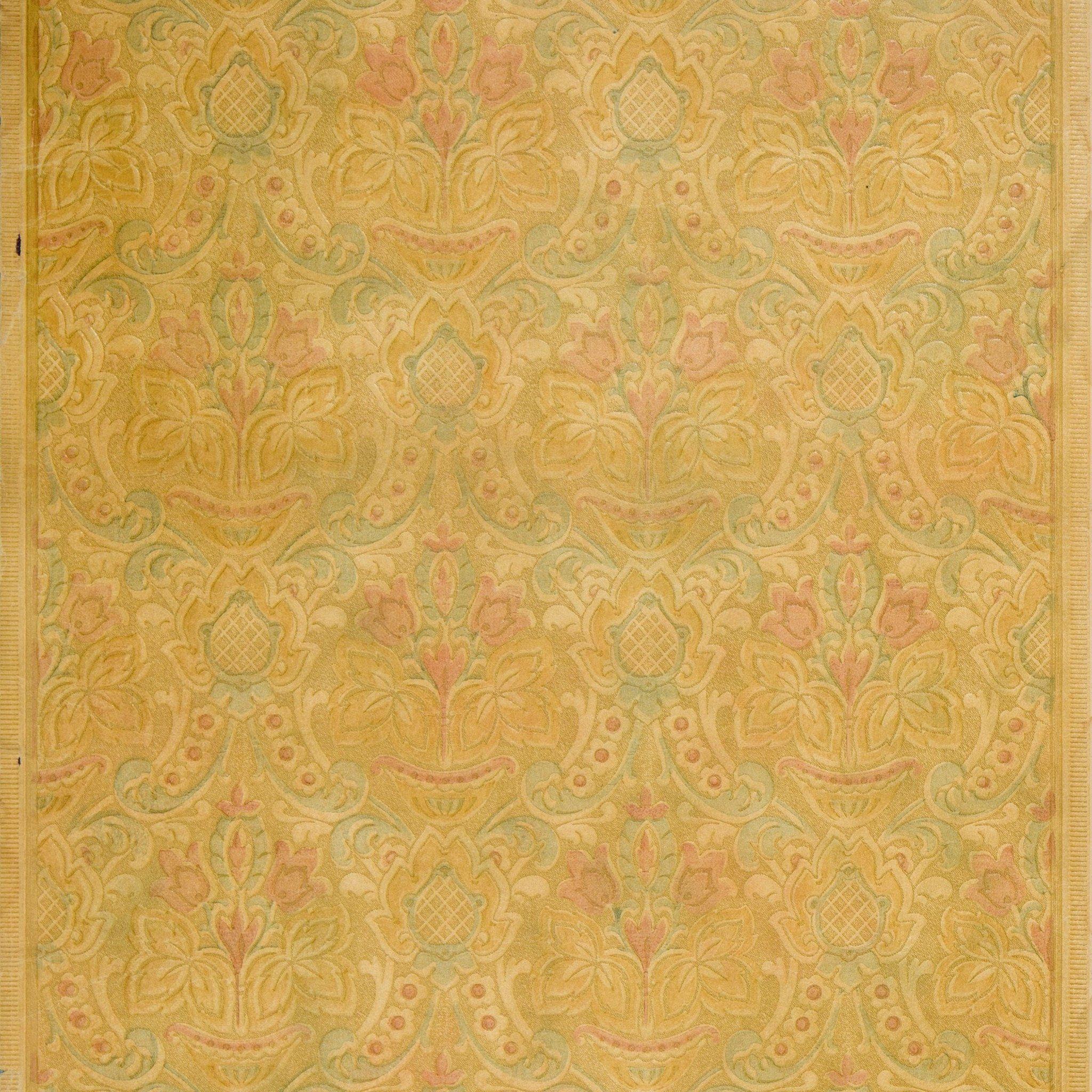 Embossed Baroque Floral Antique Wallpaper Remnant Antique Wallpaper Wallpapers Vintage Art Deco Wallpaper