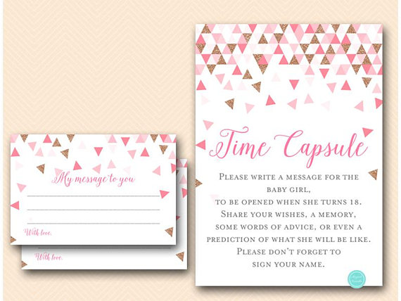 Pink Rose Gold Geometric Baby Shower Games Would She Rather Who
