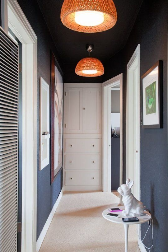 Try This Paint Your Ceiling The Same Color As Your Walls Small Hallways Hallway Lighting Hallway Decorating