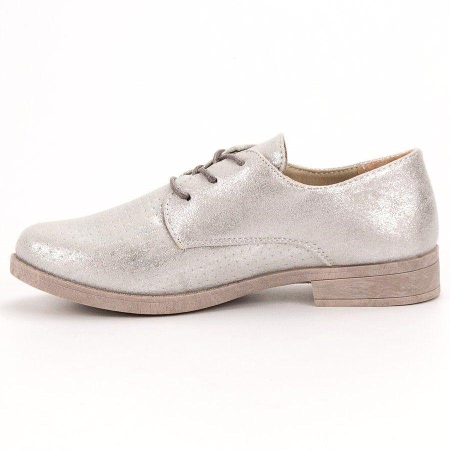 Bless Eleganckie Polbuty Damskie Szare Dress Shoes Men Dress Shoes Oxford Shoes