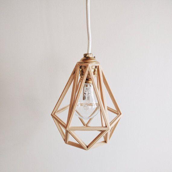 X 2 Lampe Suspension Lampenschirm Anhanger Diamant Aus Holz Vintage Und Industriedesign Lampe Suspension Tons Clairs Abat Jour
