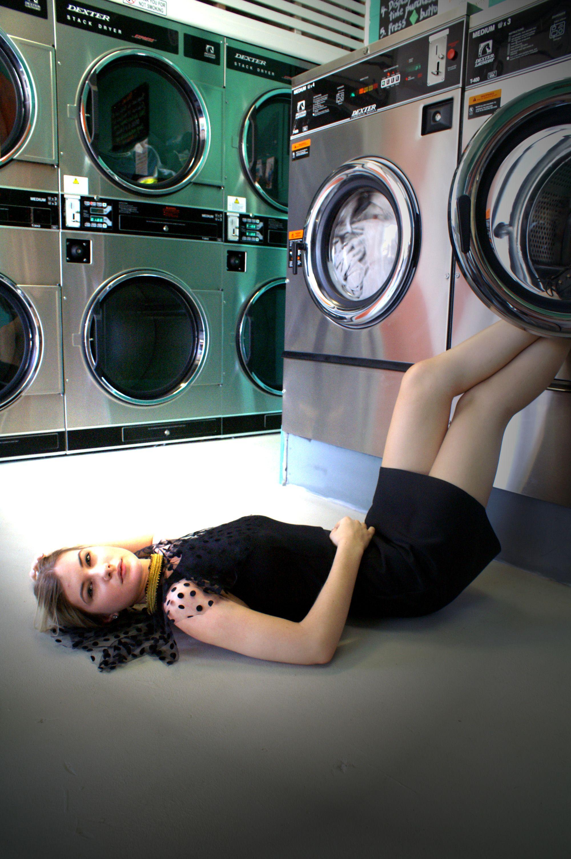 Black Dress Photo Shoot At The Laundromat Kianadesigns Fashion
