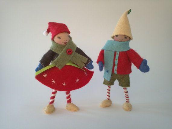 Christmas Elf Dolls Boy and Girl. Poseable by MonteserenaArts ...