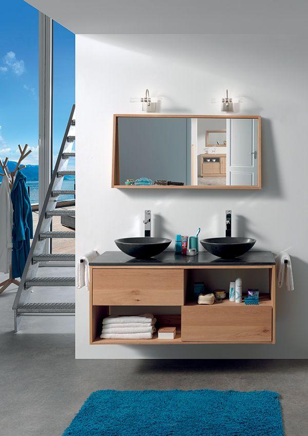 Salle de bains STONE Chêne huile et pierre naturelle   de chez - meuble salle de bain pierre naturelle