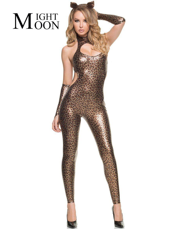 9de8526477d39 MOONIGHT Leopard Jumpsuit Halloween Cosplay Cat Woman Costume sexy woman Catsuit  Lingerie