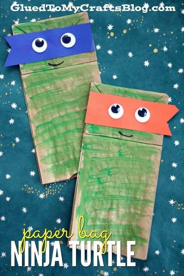 Paper Bag Ninja Turtles - Kid Craft #superherocrafts