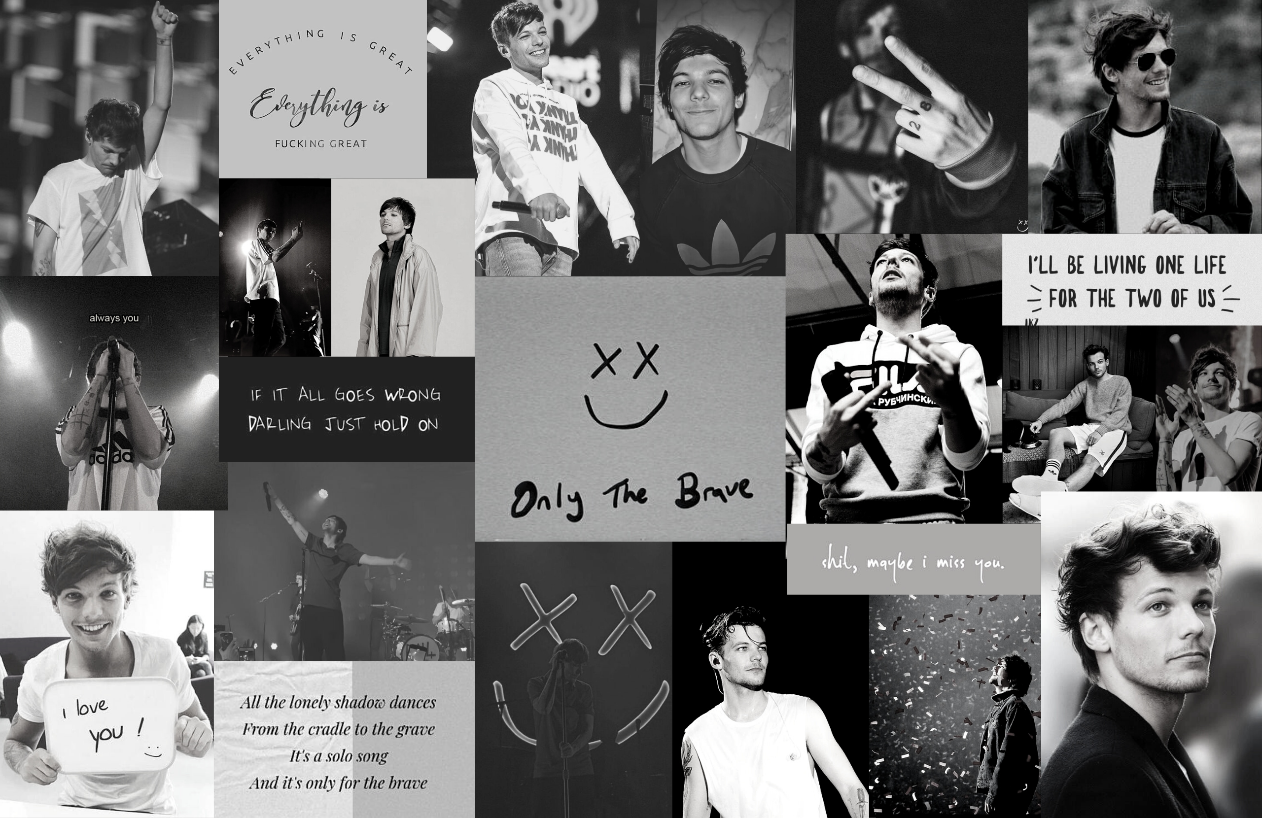louis tomlinson aesthetic wallpaper collages black and