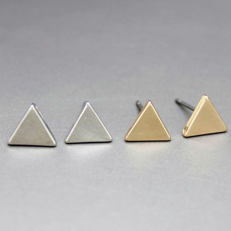 2 짝/몫 새로운 패션 골드 실버 합금 간단한 기하학적 삼각형 스터드 귀걸이 보석 도매 8333