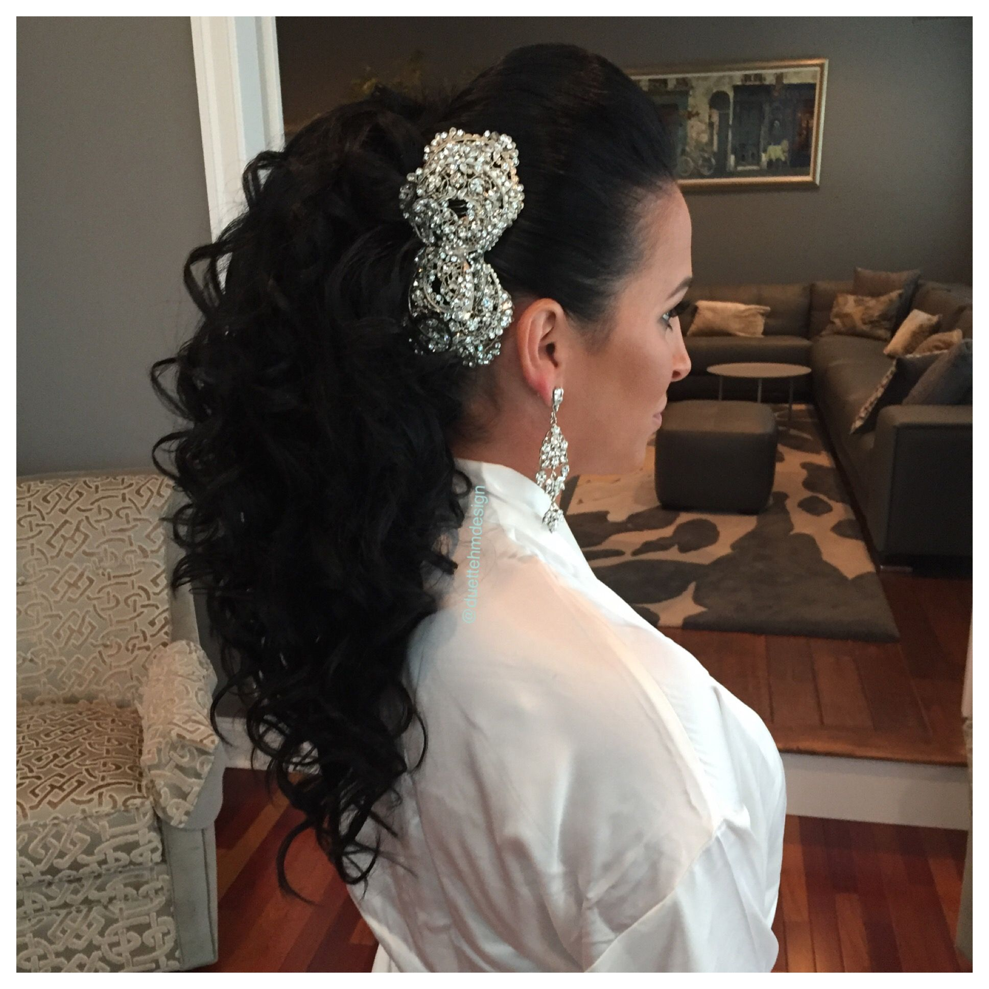 bridal updo / romantic / curly hair updo / curly hair / brunette