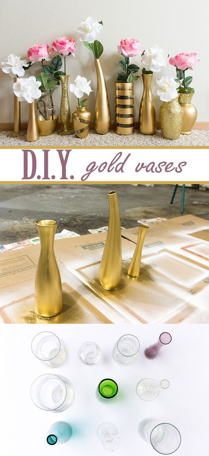 Learn how to create these beautiful gold and glitter vases for super cheap!  Use