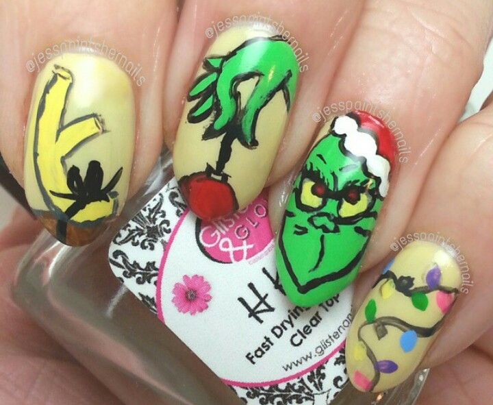 Grinch nail art | (Winter) | Pinterest