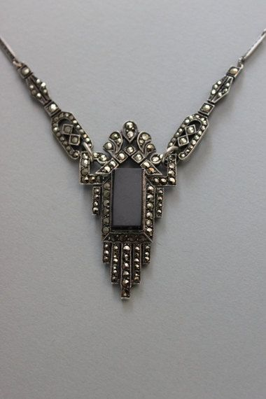 1920s Jewelry Vintage 20s Art Deco Necklace German Marcasite 1920s Necklace Deco Necklace Vintage Jewelry 1920 Art Deco Necklace