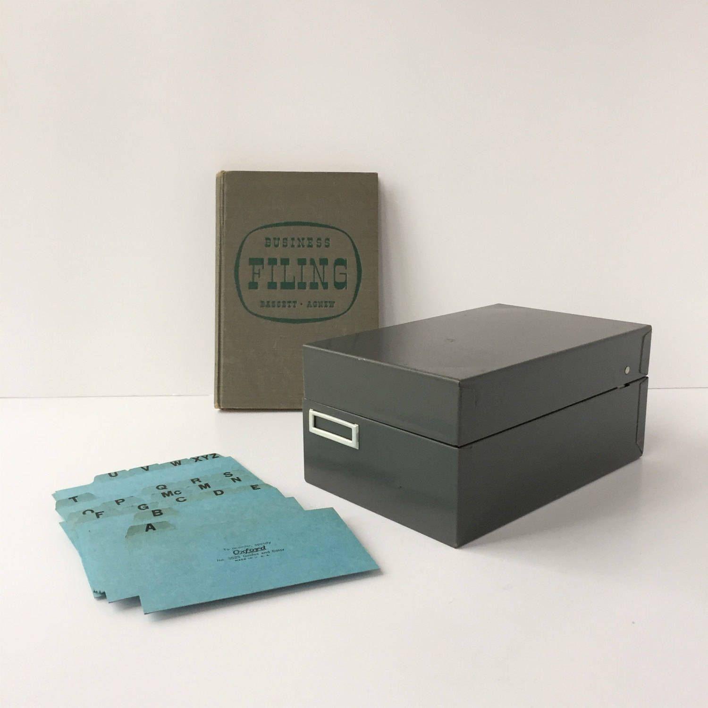 Card file vintage steelmaster filing box gray 3 x 5