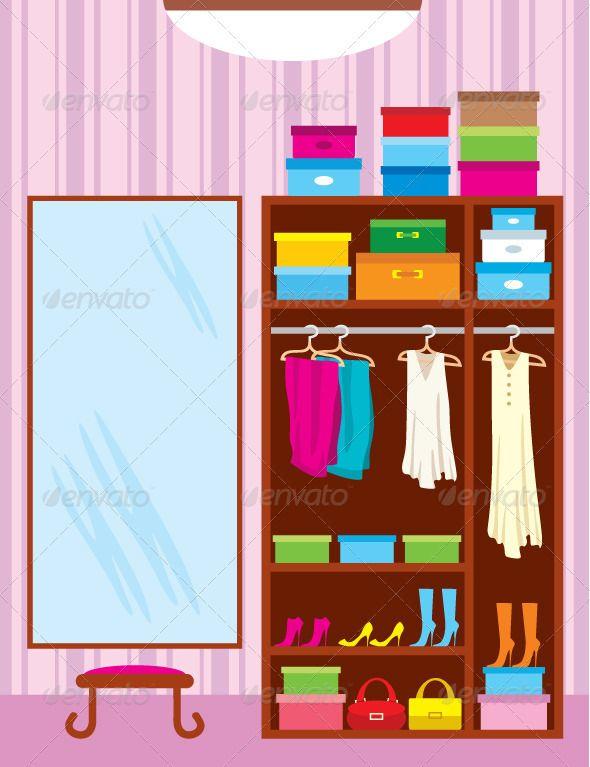 Wardrobe room. Furniture GraphicRiver Vector illustration
