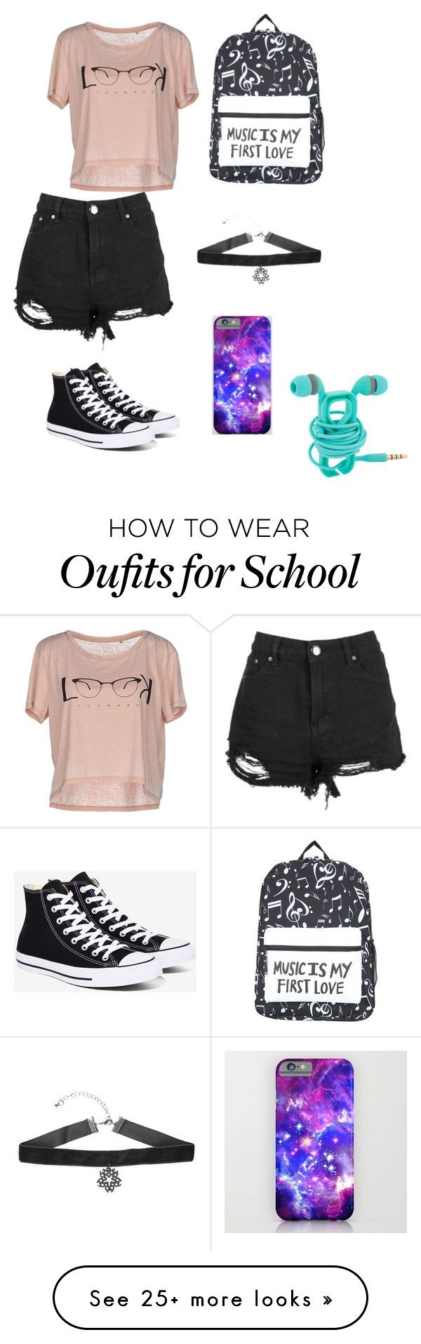 """""""Lazy school day"""" by musicsavedthegirl123 on Polyvore featuring Converse and ONLY"""