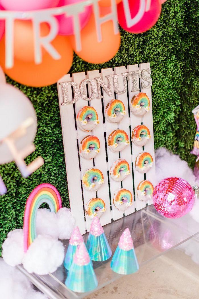 Rainbow Cloud Donut Board From A Nine 9th Birthday Party On Karas Ideas
