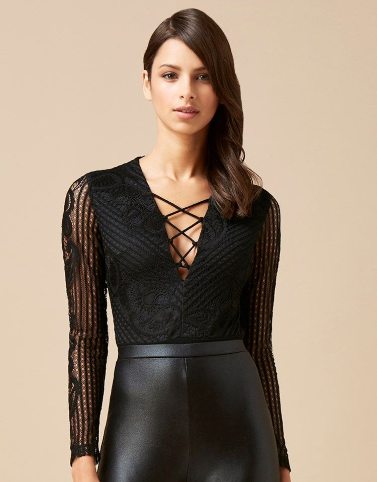 This Love Triangle lace up body features lace detail sleeves and plunging front. This body looks great paired with a pencil skirt and courts. A great look for an evening out with the girls.