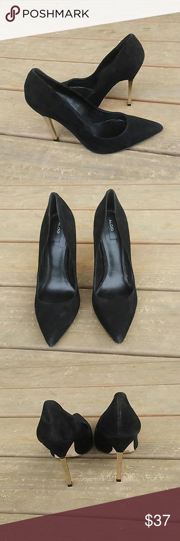 ALDO Black suede Gold Heels | Gold