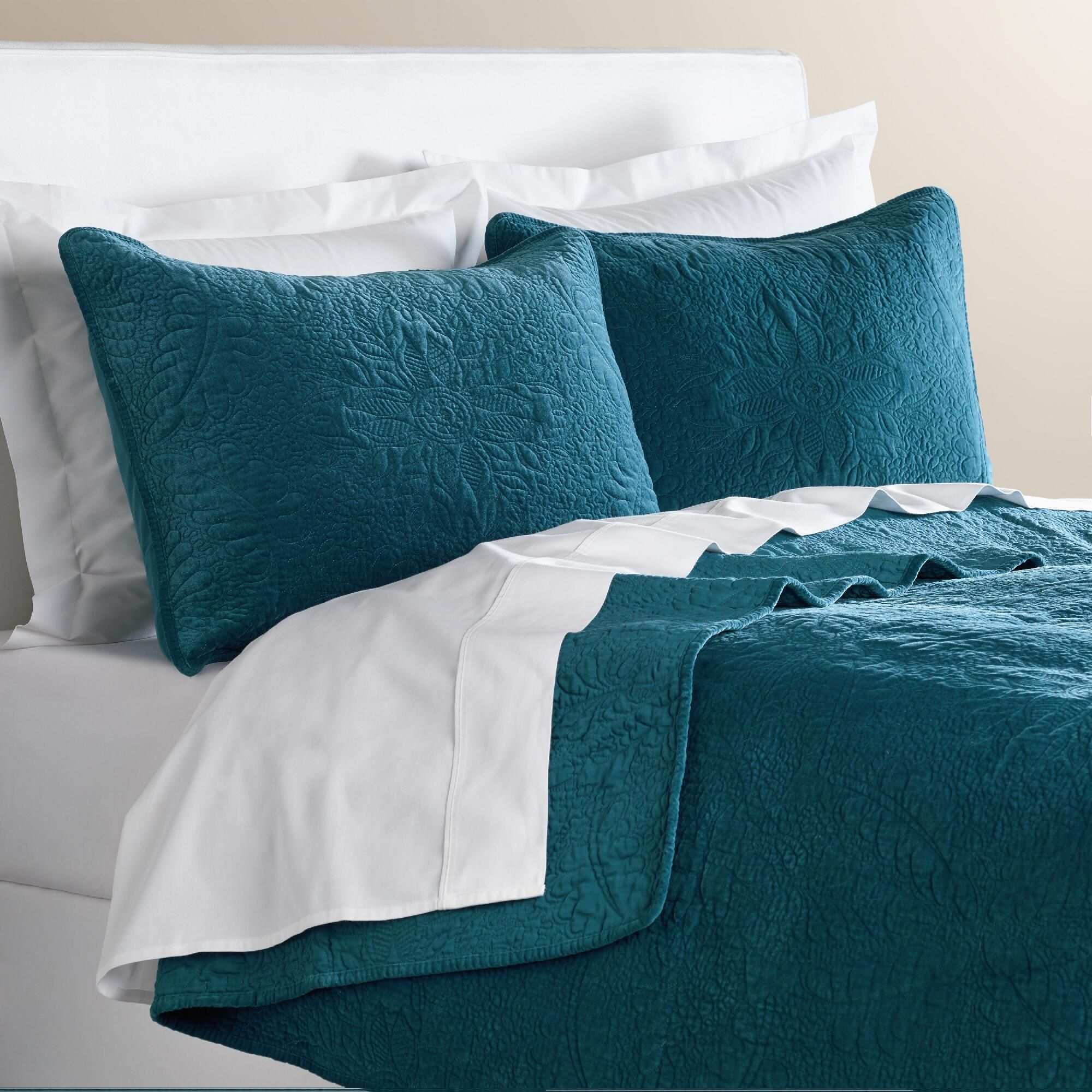 Midnight Blue Velvet Quilt World Market Velvet bed