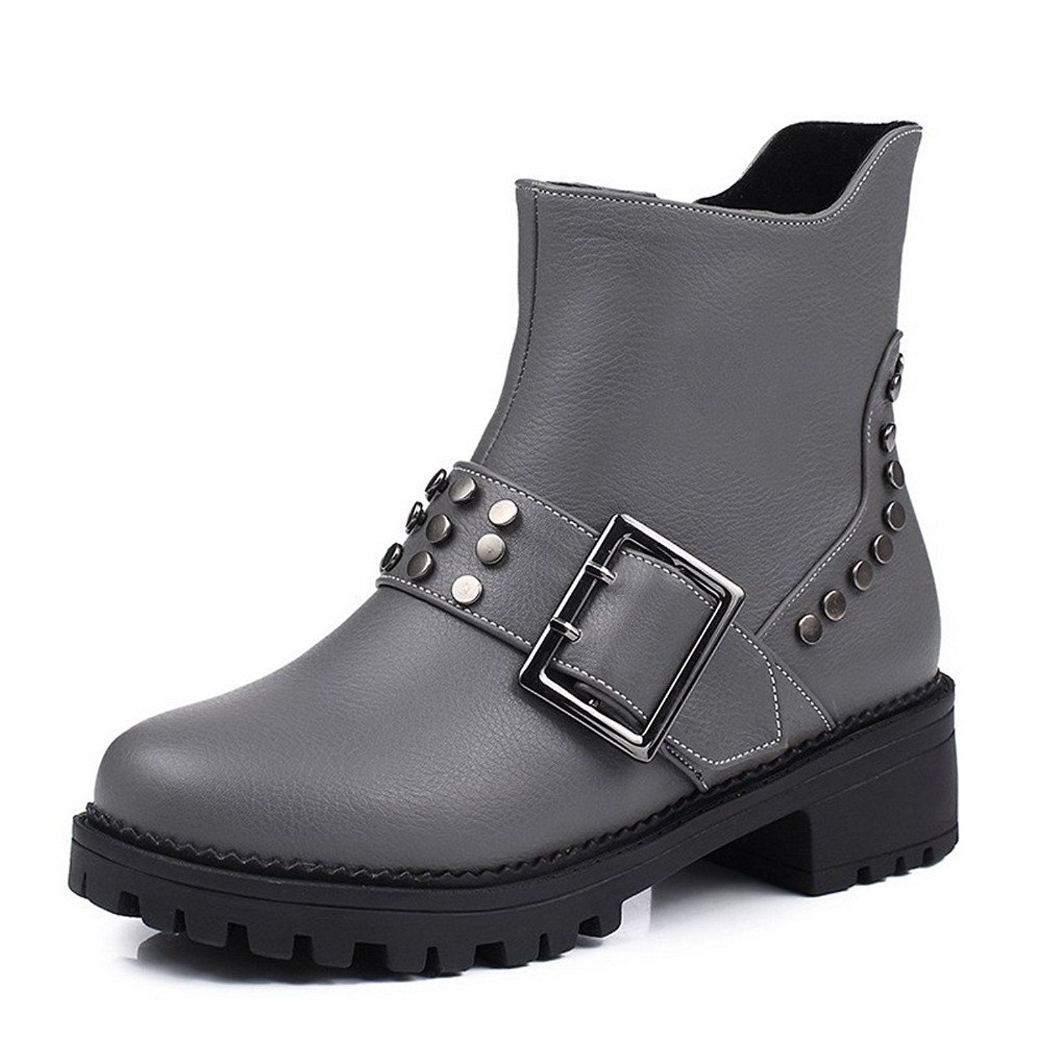 AmoonyFashion Women's Low-top Zipper Soft Material Kitten-Heels Round Closed Toe Boots ** Details can be found by clicking on the image.