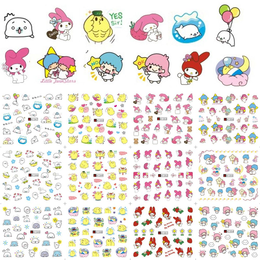 Günstige Mixed 12 Designs Mode Emoji Cartoon Bild für Nail art ...