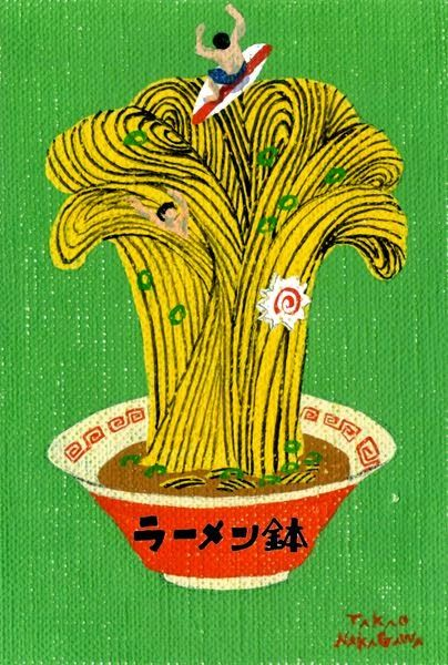 surfing in a bowl of noodles illustration by Takao Nakagawa